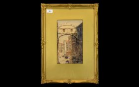 Watercolour of Bridge of Sighs in Venice, mounted and framed behind glass in decorative gilt frame.