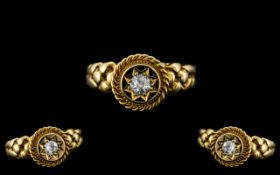 Antique Period - Superb 18ct Gold Attractive Diamond Set Ring with Wonderful Setting / Design,