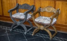A Pair Of Italian Medieval Style Throne Chairs, Heraldic Carving To The Back Rest, Supported On A