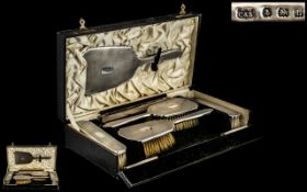 Art Deco Period - Ladies Superb Engine Cut Sterling Silver ( 6 ) Piece Dressing Room Vanity Set.