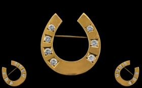 Antique Period 18ct Gold Diamond Set Horseshoe Brooch. Marked 18ct.