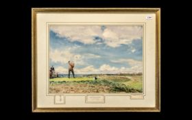 Golf Print ' The Master Stroke ' Limited Edition Print 1967, Pencil Signed to the Margins,