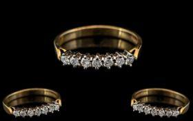 Ladies Attractive 9ct Gold Contemporary Designed 7 Stone Diamond Ring. Full Hallmark for 9.375.