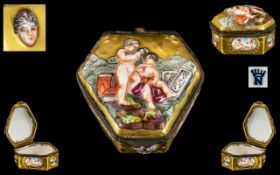 Antique Naples Hinged Trinket Box, decorated in relief to the lid with putti reading books,