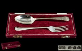 Garrard & Co Crown Jewelers Boxed Sterling Silver Christening Set. Comprises Spoon and Fork.