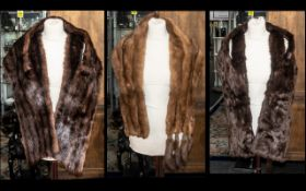 Three Vintage Fur Collars comprising a Mink collar with tails in golden brown,