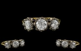 18ct Gold - Attractive 3 Stone Diamond Ring - Gallery Setting.