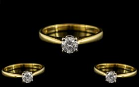 18ct Yellow Gold - Superb Quality Contemporary Designed Single Stone Diamond Ring.