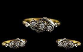 18ct Gold and Platinum 3 Stone Diamond Set Ring - illusion Setting.