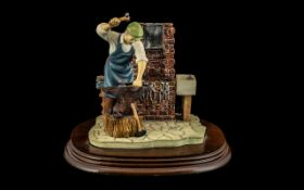 The Blacksmiths Shop by Leonardo. Fitted on a Wooden Base. Size 7 Inches High & 8 Inches Wide.