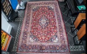 A Genuine Excellent Quality Red Ground Persian Kashan Carpet/Rug with a traditional floral Kashan