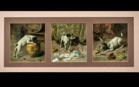 Three Framed Prints of a Jack Russell Terrier being mischievous. Framed and glazed.
