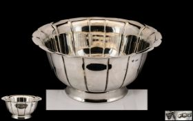 Garrard & Company London High Quality Large and Impressive Sterling Silver Footed Bowl of Excellent