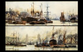 Frank William Scarborough (FL 1896/1939) A Fine Pair of Watercolour Drawings of Shipping and Barges