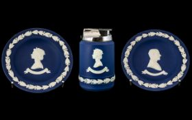 Wedgwood Blue Jasper Three Pieces of Silver Jubilee,