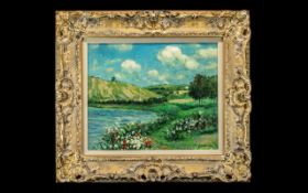 A Modern Oil Painting on Canvas of a French River Landscape signed Le.Blang.