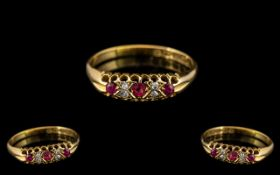 Antique Period 18ct Gold Attractive 7 Stone Ruby and Diamond Set Ring - Gallery Setting.