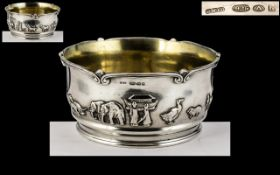 Victorian Period - Late 19th Century Superb Quality Cast Sterling Silver Noah's Ark Children's Bowl,