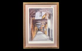 Watercolour Painting of Rhodes Old Town mounted and framed behind glass,