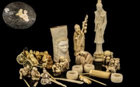 Large Collection of Carved Figures Ivory / Bone etc. Please See Photo.
