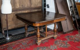 Large Early 20th Century Belgium Oak Extending Dining Table, with four extra leaves,