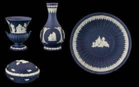 Wedgwood Portland Blue Collection of Four Items,