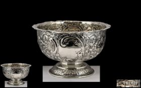 Victorian Period - Nice Quality Heavily Embossed Sterling Silver Footed Bowl, Vacant Cartouches.