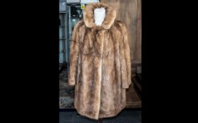 Vintage Mink Coat, Golden Brown, shawl collar, two slit pockets, 3/4 sleeves, hook and eye