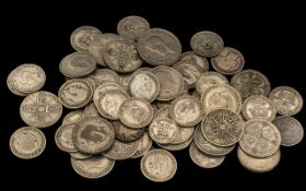 Mixed Collection of Pre 1947 Silver GB Coins, Mostly Worn Condition. Gross Weight 450 grams.