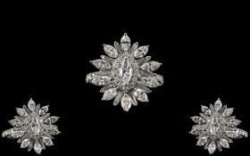 Art Deco Style 18ct White Gold Superb Quality Diamond Set Sunburst Design Dress Ring.