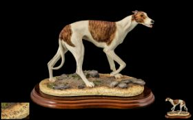Border Fine Arts B0348A Hand Painted Sculpture - Figure ' Greyhound ' Brindle, Sculpture M. Turner.