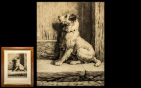 Herbert Dicksee Etching of a Dog Entitled the Prodigal 1926. Framed and glazed.