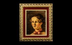 """Oil Painting of Young Lady framed in ornate gilt frame, overall size 15"""" x 13""""."""