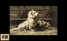 Herbert Dicksee Etching of Two Highland Terriers pencil signed to the margin 1925.