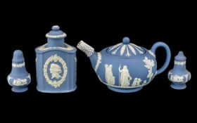 Wedgwood Blue Jasper Tea Pot, Salt & Pepper & Lidded Pot all in excellent as new condition,