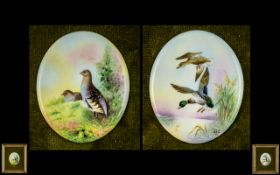 Russell Francis Worcester Pair of Fine Quality - Hand Painted By Individual Artists Porcelain