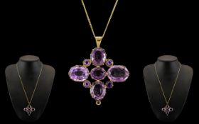 Victorian Period 1837 - 1901 Fine Quality 18ct Gold Amethyst Set Pendant with Later 9ct Gold Chain.