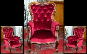"Victorian Mahogany Grandfather Chair, height 41"", widest point 26""."