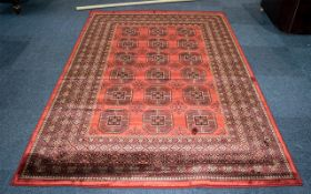 A Genuine Cashmere Red Ground Carpet/Rug. Bukhara design.As new condition. Measures 2.40 by 1.