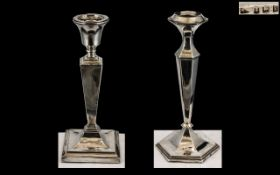 Edwardian Period - Single Sterling Silver Classical Style Square Based Candlestick with Tapered