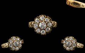 Russian Imperial - Beautiful 14ct Gold Diamond Set Cluster Ring. Pre 1917 - Romanov Period.