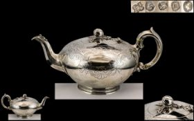 Edward Barnard & Sons Early Victorian Period Superb Sterling Silver Teapot of Excellent Proportions