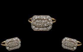 Antique Period Exquisite Superb 18ct Gold and Platinum Diamond Set Dress Ring. c.1900 - 1910.