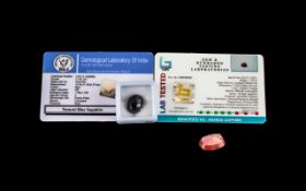 11.40ct Certified Blue Sapphire and 1.34ct Orange Sapphire. Please see images.