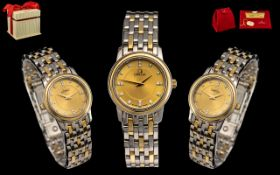 Omega - Ladies 18ct Gold and Steel Diamond Set Wrist Watch.