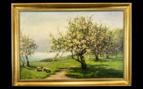Oil Painting of Blossom Trees depicting fields with sheep. Signed L Headley to bottom right.