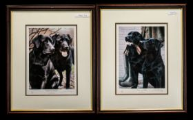 Two Signed Limited Edition Prints of Black Labradors. 1.