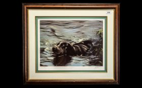 Signed Limited Edition Print of Black Labrador Swimming, by artist John Silver. No. 420/600.
