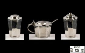 Art Deco Period Superb Sterling Silver 4 Piece Cruet Set In True Art Deco Design / Lines.