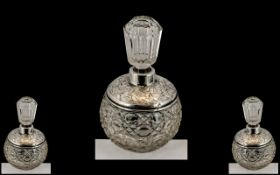 Edwardian Period - Ornate Silver Banded Cut Glass Circular Shaped Scent Bottle of Pleasing Design /